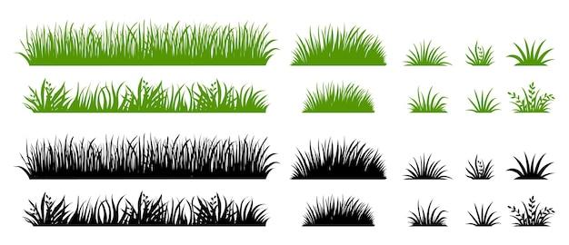 Grüne und schwarze grassilhouette. cartoon-unkraut-feld. flache illustration des rasens. vektor-öko- und bio-logo-element-set