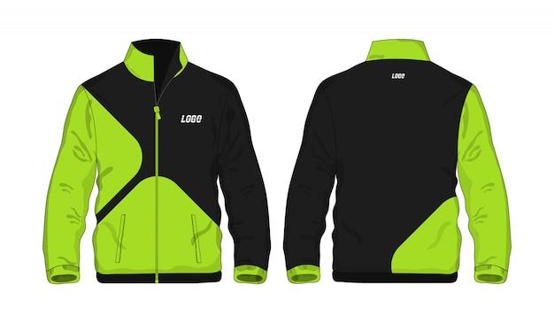 Grüne und schwarze schablone der sportjacke für entwurf auf weißem hintergrund. vektorillustration eps 10.