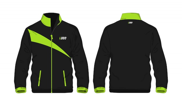 Grüne und schwarze schablone der sportjacke für entwurf auf weißem hintergrund.
