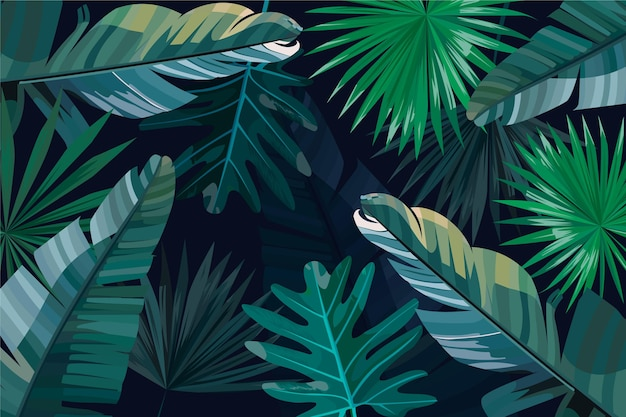 Grüne und silberne tropische blätter