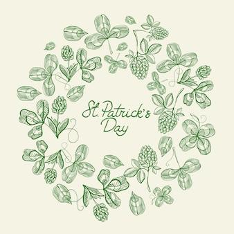 Grüne und weiße kreisrahmenskizzenkompositionskarte mit vielen traditionellen elementen um text über st. patricks day