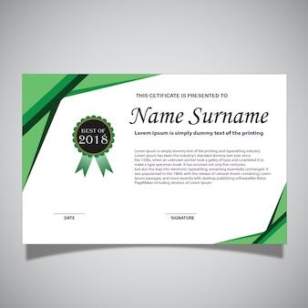 Grüne und weiße zertifikatskarte