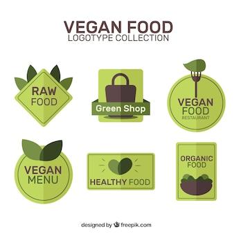 Grüne veganes restaurant logos