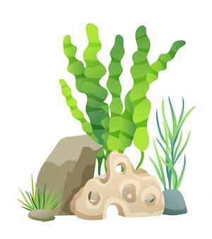 Grüne vegetation der tiefsee-vektor-illustration