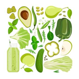 Grüne vektornahrung gemüse, früchte und andere grüne lebensmittel auf weiß farbtherapie farbvorteile