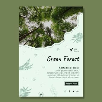 Grüne waldplakatschablone
