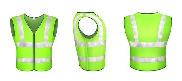 Grüne warnweste mit reflexstreifen, uniform für straßenarbeiter, bauarbeiter oder autofahrer. vector realistische weste 3d mit reflektoren in der vorderseitenrückansicht lokalisiert auf weißem hintergrund.