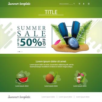 Grüne websiteschnittstellenschablone für sommerrabatte und -verkäufe