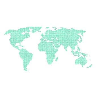 Grüne weltkarte von verschiedenen punkten. konzept des infografik-elements, weltreise, globalisierung. isoliert auf weißem hintergrund. flacher stil trend moderne logo-design-vektor-illustration