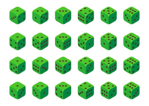 Grüne würfel in jeder position wirf teufelsknochen im realistischen cartoon-stil