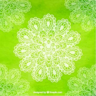 Grüne yoga hintergrund mit blumen