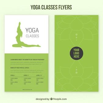 Grüne yoga-kurse flyer