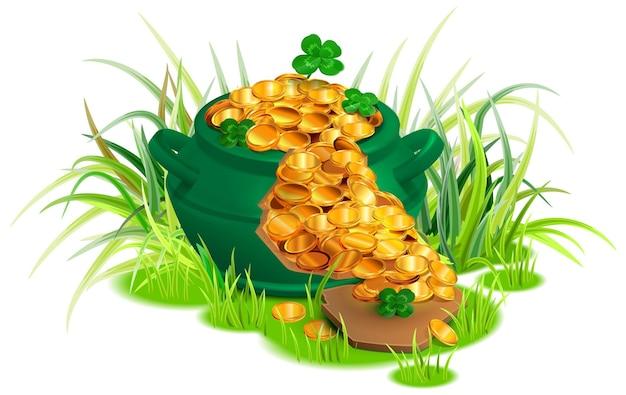 Grüne zerbrochene kesselpfanne voller goldmünzen auf gras.