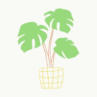 Grüne zimmerpflanze vektor monstera hand gezeichnetes gekritzel
