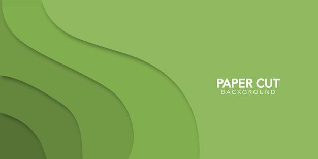Grüner abstrakter hintergrund im papierschnittstil