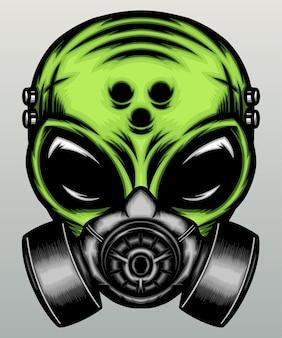 Grüner alien mit gasmaske.