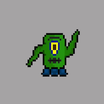 Grüner alien mit pixel-art-stil