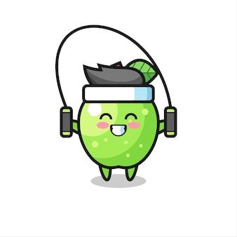Grüner apfel-charakter-cartoon mit springseil, süßes design für t-shirt, aufkleber, logo-element