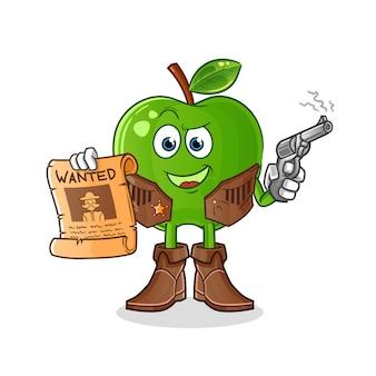 Grüner apfel-cowboy, der pistole hält und plakatillustration wollte