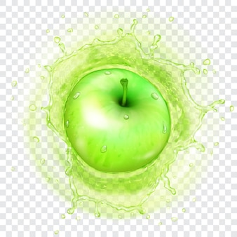 Grüner apfel, der mit durchscheinendem spritzer wasserkrone in saft fällt. transparenz nur im vektorformat