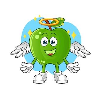 Grüner apfel engel mit flügeln