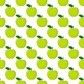 Grüner apfel nahtlose muster und scheiben. fruchtsommer