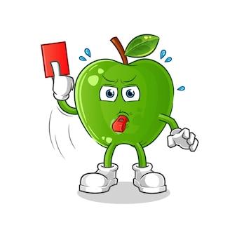 Grüner apfelschiedsrichter mit roter kartenillustration. zeichenvektor