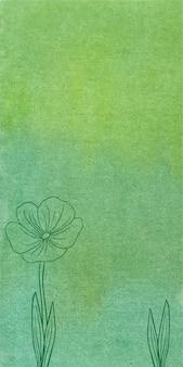 Grüner aquarellfahnenhintergrund mit hand gezeichneten blumen