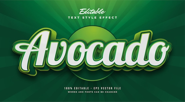 Grüner avocado-textstil mit 3d- und geprägtem effekt. bearbeitbarer textstileffekt
