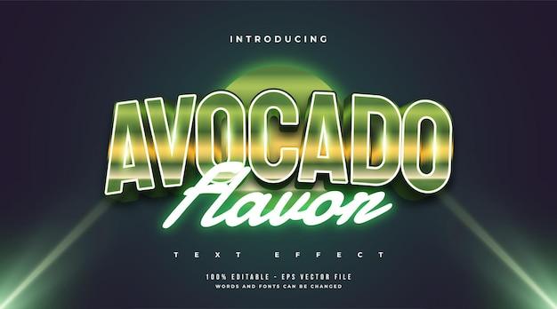Grüner avocado-textstil mit retro- und neoneffekt. bearbeitbarer textstileffekt