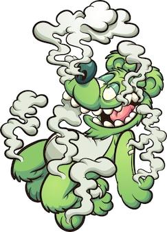 Grüner bär, der im weißen rauch schwimmt