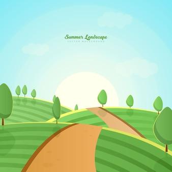 Grüner bauernhof-hügel-landschaftshintergrund