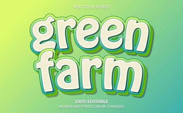 Grüner bauernhof-text-stil-effekt