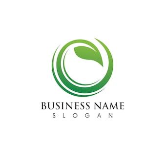 Grüner baum blatt logo ökologie natur element vektor