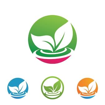 Grüner baum blatt ökologie logo natur element vektor