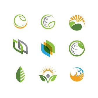 Grüner baum blatt ökologie natur element vektordesign