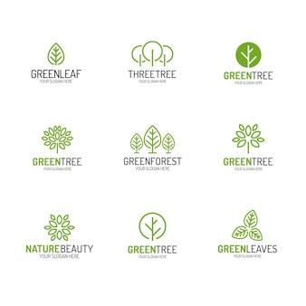 Grüner baum und blätter-logo setzen linienart für naturproduktspeicher