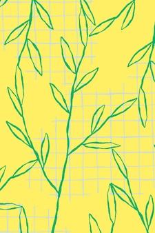 Grüner blattmustervektor auf gelbem gitterhintergrund