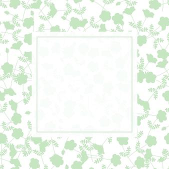 Grüner blumenrahmen auf grünem und weißem hintergrund