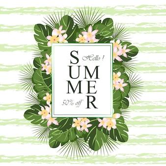 Grüner blumenrahmen mit sommerblumen und tropischem laub