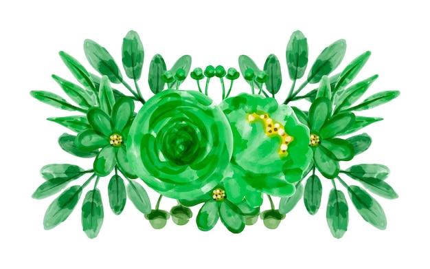 Grüner blumenstrauß mit aquarell