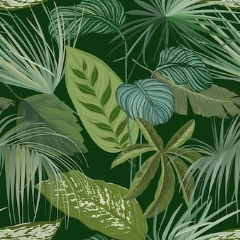 Grüner botanischer hintergrund mit tropischen blättern und zweigen, nahtlosem muster, realistischem spathiphyllum cannifolium geschenkpapier oder textildruck, regenwald-tapeten-ornament. vektorillustration