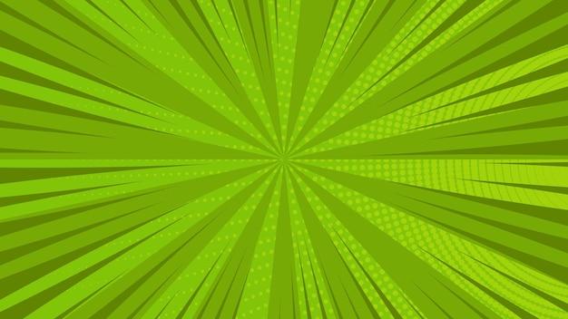 Grüner comic-seitenhintergrund im pop-art-stil mit leerem raum. vorlage mit strahlen, punkten und halbtoneffekt-textur. vektor-illustration