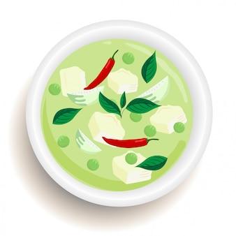 Grüner curry des thailändischen lebensmittels mit huhn im draufsichtdesign des schlages.
