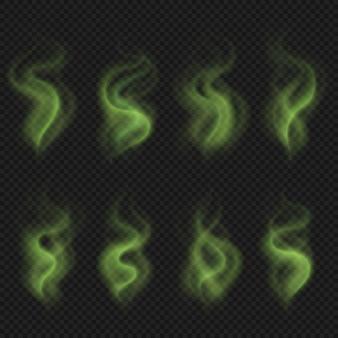 Grüner dampf des schlechten geruchs, giftiger gestankrauch, schmutziger manngeruch-gestankvektorsatz lokalisiert