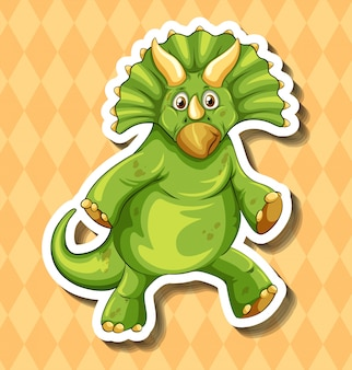 Grüner dinosaurier auf orange