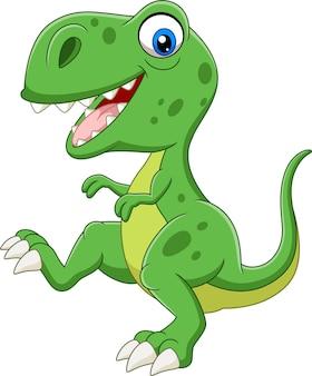 Grüner dinosaurier der karikatur auf weißem hintergrund
