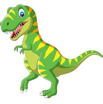 Grüner dinosaurier der karikatur