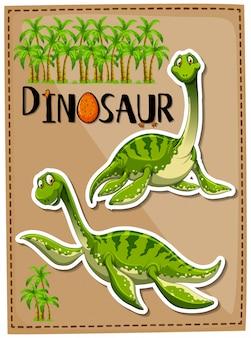 Grüner dinosaurier mit glücklichem gesicht