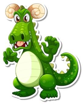 Grüner drache-cartoon-charakter-aufkleber